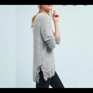 Postmark | Anthropologie ruffle slit grey sweater